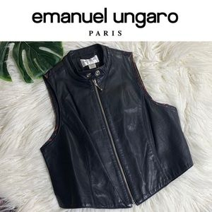 EMANUEL UNGARO Black Leather Vest